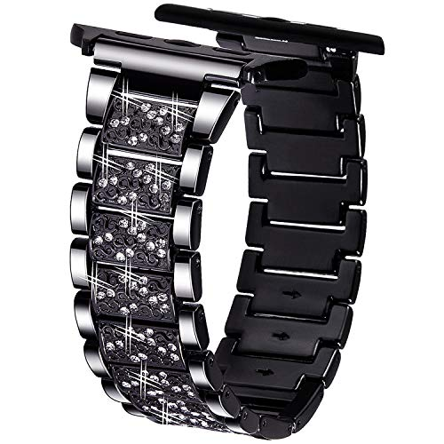 VIQIV Bling Bands for Compatitle Apple Watch 40mm 44mm Iwatch Series 4, Diamond Rhinestone Stainless Steel Metal Bracelet Wristband Strap for ()