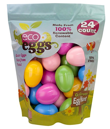 - ecoegg Eco Friendly 100% Renewable USA Plant Based Non-Toxic Snap Closure Plastic Fillable Easter Eggs for Egg Hunts & Easter Baskets - Multicolor, 24 Count