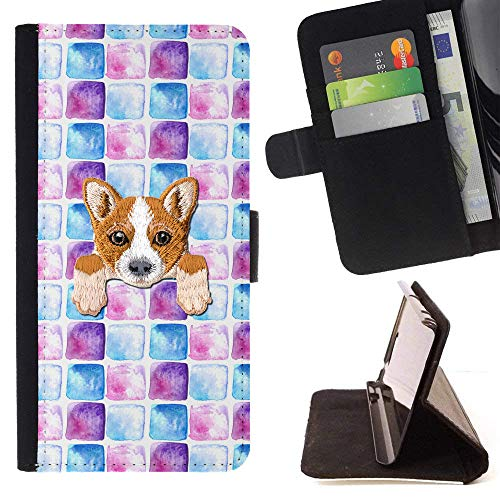 - [ Welsh Corgi ] Embroidered Cute Dog Puppy Leather Wallet Case for LG V30 [ Blue Purple Watercolor Tiles Pattern ]