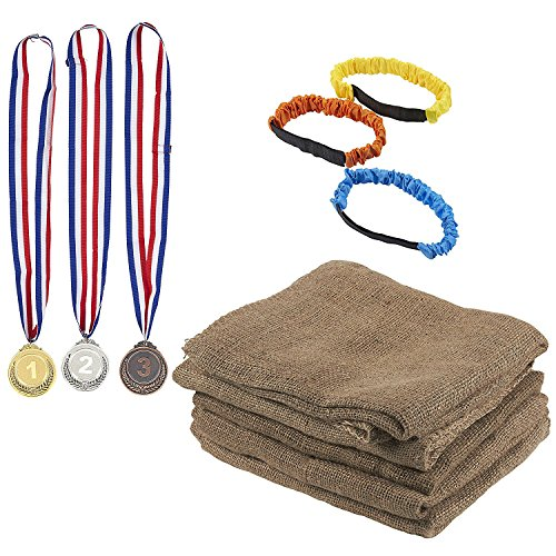 Burlap Potato Sack, 3-Legged Relay Race, Award Medal - 11-Piece Birthday Party Outdoor Game Set, Includes 5 Sacks, 3 Relay Race Bands, 3 Medals for Field Day, Family and Kids Christmas Activity -