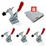 Airisland 4pcs 201B Horizontal Quick Release Toggle Clamp Anti-slip 198 lbs Holding Capacity Heavy Duty 201-B Hand Tool & 1pcs 320 Grit sand paper for woodworking (4+1 pcs)