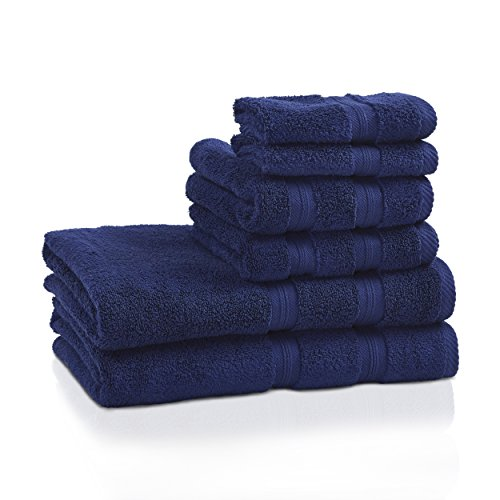 Superior 100% Cotton Smart Dry Zero Twist 6-piece towel set, Incredibly Soft, Highly Absorbent, Quick Drying Towels, 2 Bath Towels, 2 Hand Towels, 2 Wash Cloths, Navy (Best Superior Bath Towel Sets)