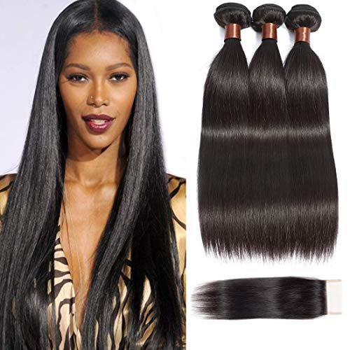 Angie Queen Brazilian Virgin Straight Hair 3 bundles With Free Part Closure Natural Color 100% Unprocessed Human Hair Weave Weft with Lace Closure (24 24 26+18 closure) from Angie Queen