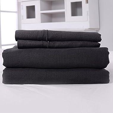 3 Piece Solid 100% Linen Duvet Cover Set (King, Dark Grey)
