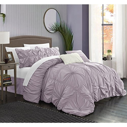 Halpert Floral Pinch Pleat Ruffled Designer Embellished King Comforter Set, 6-Piece, Lavender ()