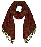 Peach Couture Elegant Reversible Paisley Pashmina Shawl Wrap (Red)