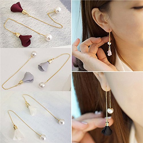 Earrings Flower Drop Crystal (Aranher(TM))Newly Women Gold Silver Plated Crystal Flower Drop Long Dangle Chain Earrings(Random color))