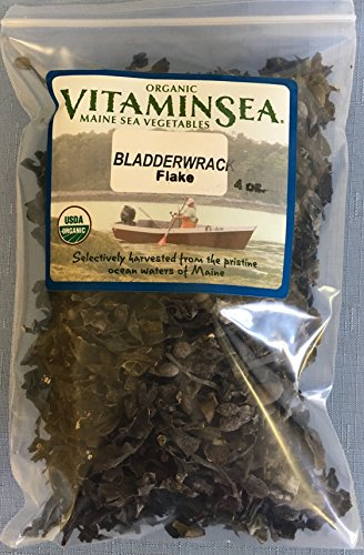 Organic Bladderwrack Flakes Maine Seaweed - 4 oz bag - USDA Certified and Kosher Hand Harvested from the Atlantic Ocean Coast Vegan Raw and Wild Sea Vegetables VitaminSea (Bldrwrk Flks 4oz)