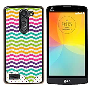 LECELL--Funda protectora / Cubierta / Piel For LG L Bello L Prime -- Dot Waves Líneas del arco iris de color --