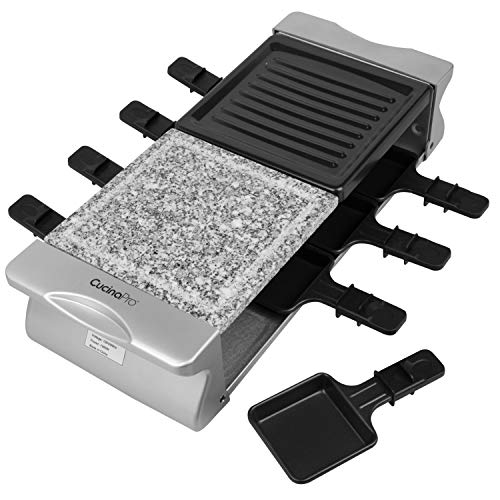 Deluxe 8 Person Dual Cheese Raclette w Non-stick Grill Plate and Grill Stone
