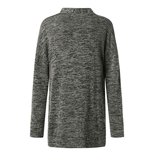 Gris En Femmes Manteau Veste Long Manches Poches Tops Longues Outwear Vrac ❤tefamore Chemisier Cardigan Oxdq1Ynqw6