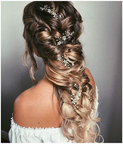 Around Crystal - SWEETV Pearl Silver Hair Vine - Braided Wedding Headband Bohemian Bridal Headpiece - 28.5 inch/72 cm Extra Long Crystal Hair Accessories for Brides Bridesmaids