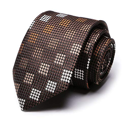 Mens Brown Gingham Checks Tie Handmade Fancy Party Necktie New Year Gift for Son