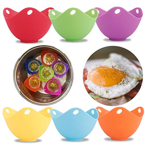 Amabest 6 Pack Silicone Egg Poacher with Flat Bottom Egg Poacher Pods Egg Cooker No BPA Silicone Bowl Egg Poacher Cups…