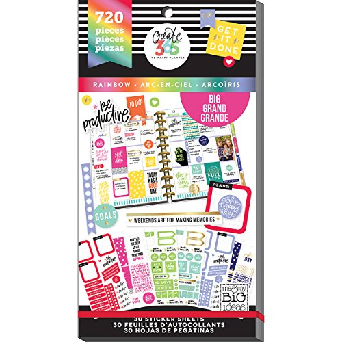 Me & My Big Ideas PPSV-12 Create 365 Happy Planner Sticker Value Pack Rainbow Big - 720 per Pack ()