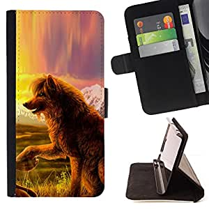 DEVIL CASE - FOR LG Nexus 5 D820 D821 - Wolf Dog Fairytale Art Nature Field View - Style PU Leather Case Wallet Flip Stand Flap Closure Cover