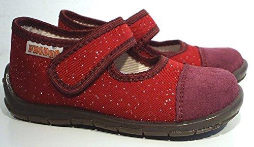 FRODDO Hausschuhe Fußbett Leder bordeaux Glitzer