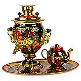 Khokhloma Electric Samovar Set with Tray & Teapot Russian Samovar Tea Maker