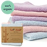 "Organic Bamboo Baby Washcloth Flannels ULTRA SOFT | 6 Pack | Certified Organic - Best for Newborn Sensitive Skin, Eczema | Baby Travel Bathing Gift Kit | 10"" x 10"" Large Extra-Thick Towels (512gsm)"