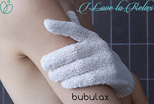 Exfoliating Gloves for Body by Bubulax 5 Pairs Bulk - 10 Gloves, Bath Gloves, 1 White Glove Set, Cellulite Scrubber, Shower Gloves, Reduce Acne Scars, Exfoliator Glove Men and Women, ()