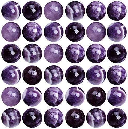 Natural Stone Beads 100pcs 8mm Amethyst Round Genuine Real Stone Beading Loose Gemstone Hole Size 1mm DIY Charm Smooth Beads for Bracelet Necklace Earrings Jewelry Making (Amethyst)