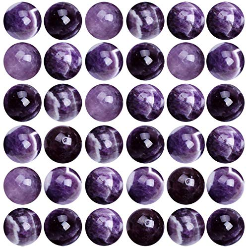 (Natural Stone Beads 100pcs 8mm Amethyst Round Genuine Real Stone Beading Loose Gemstone Hole Size 1mm DIY Charm Smooth Beads for Bracelet Necklace Earrings Jewelry Making (Amethyst))