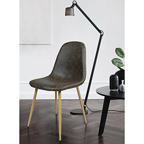 Dining Side Chairs Washable Pu Cushion Seat Metal Legs for Dining Room Chairs PU Leather Eames Style Dining Chair With Wooden Transprint Metal Legs Set of 4 ,Dark Brown