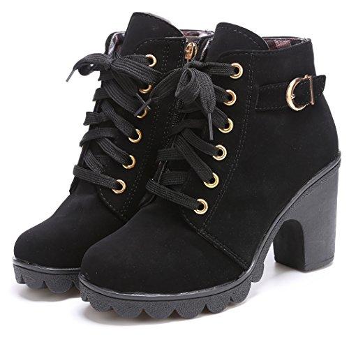 69919f87 eshion Women Platform Block Chunky. Review - eshion Women Lace Up Platform  Block Chunky Heel Ankle Boots. By eshion $$$
