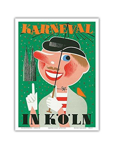 Karneval In Koln (Carnival In Cologne) Germany - Vintage Carnival Poster by Anton Wolff 1950 - Master Art Print - 9in x 12in