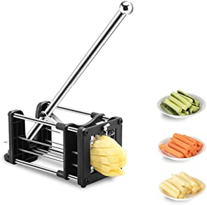 French Fry Cutter, Reliatronic Stainless Steel Potato Chipper with Extended Handle, 2 Different Size Super Sharp Blades, Perfect for Cutting Potatoes, Carrots, Cucumbers