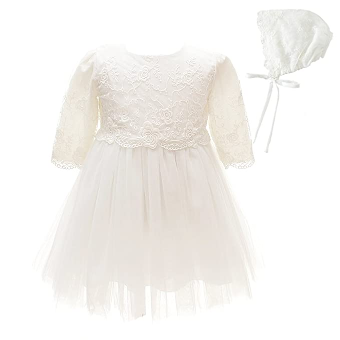Baby Girl Dress 2PCS Christening Baptism Gowns Long Sleeve Thicken ...