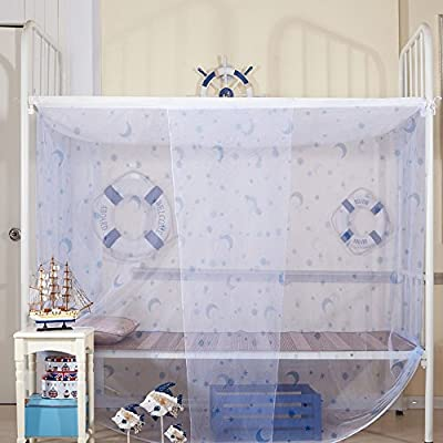 Moon Stars light Blue Lace Princess Luxury 4 Post Bed Canopy Student Mosquito Net
