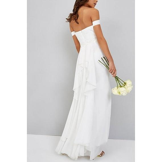 Little Mistress - Vestido de Novia con Aplique en la Cintura para Mujer (38 EU/Blanco): Amazon.es: Ropa y accesorios