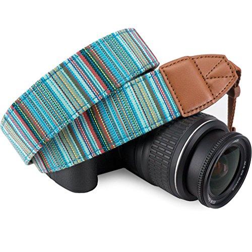 Wolven Pattern Canvas Camera Neck Shoulder Strap Belt Compatible for All DSLR/SLR/Men/Women etc, Cyan Stripe Pattern