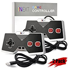 Classic USB NES Controller, iNNEXT USB Famicom Controller Joypad Gamepad for Windows PC / MAC (Red) (Pack of 2)