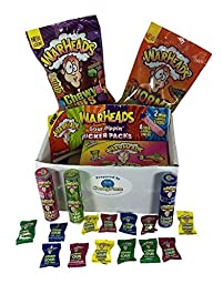 Warheads Candy Extreme Sour and Sour Spray Variety Gift Pack: Extreme Sour Hard Candies, Super Sour Spray, Chewy Cubes, Sour Twists, Gummy Worms, Pucker Pack