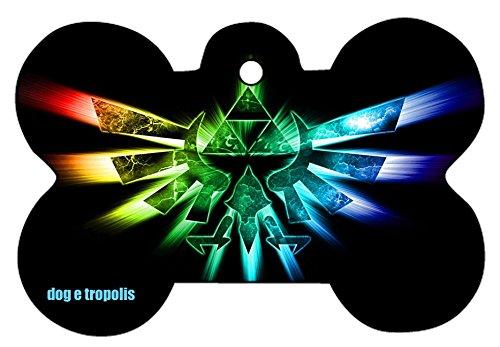Princess Zelda Link Triforce Art Design Custom Logo Dog Pet Cat ID Tag Bone Shape Personalized Key Ring (C) -