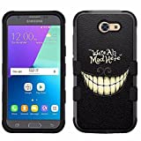 for Samsung Galaxy J3 Emerge (2017), Hard+Rubber Dual Layer Hybrid Heavy-Duty Rugged Armor Cover Case - Cheshire Cat #Mad Here