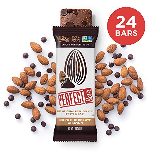 Perfect Bar Original Refrigerated Protein Bar, Dark Chocolate Almond, Almond Butter, 12g Whole Food Protein, Gluten Free  and Non-GMO, 2.2  Oz. Bar (24 Bars)