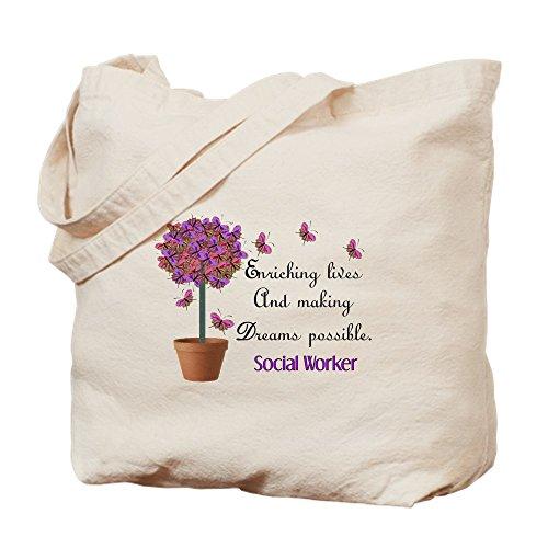 CafePress trabajador Social–mariposa árbol. PNG–Gamuza de bolsa de lona bolsa, bolsa de la compra Medium caqui