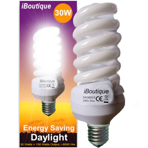 iBoutique 30W Edison Screw (E27) Daylight Energy Saving Light Bulb - Great  For SAD