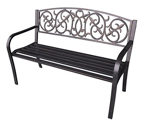 "Jeco 50"" W Royal Curved Back Steel Park Bench in Black and Gold from Jeco Inc."