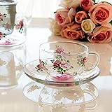 ロマンティックローズ 耐熱ガラス カップ&ソーサー 日本製 ティーカップ
