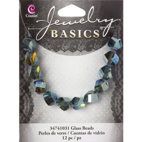 Cousin Jewelry Basics Mirror Glass Beads, 10mm, Twist, Blue and Green, 12-Pack (Twist Beads Glass)