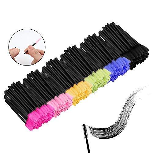 Accmor 300 pcs Multicolor Disposable Mascara Wands Eyelash Eye Lash Brush Makeup Applicators Kit, 6 Colors