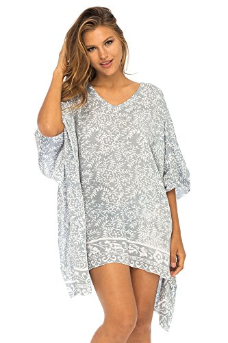 Back From Bali Womens Beach Swimsuit Cover Up Dress Caftan Floral Short Poncho Bun Grey