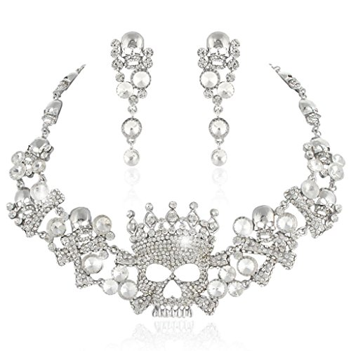 EVER FAITH Silver-Tone Austrian Crystal Art Deco Crown Skull Cross Necklace Earrings Set Clear