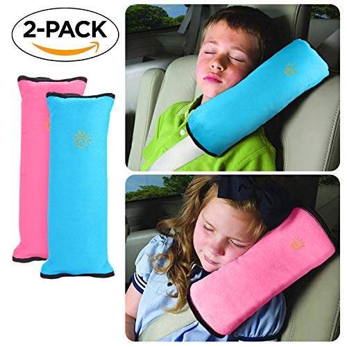 Kermalley Kids Cars Vehicles Safe Soft Plush Seat Belt Pillow, Seat Belts Cushion, Seatbelt Pads, Support Protect Neck and Head for Children (Pink & Blue No Clip)