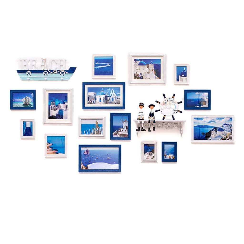 写真の壁、クリエイティブシンプルな青と白の地中海の装飾、複合フォトフレーム、回廊の寝室居間の写真フレームフォトウォール、17個   B07KY5X6XY
