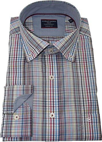 Casamoda Herrenhemd casualfit mehrfarbiges Karohemd langarm Button-Down Kragen mit Tasche Kollektion Size M